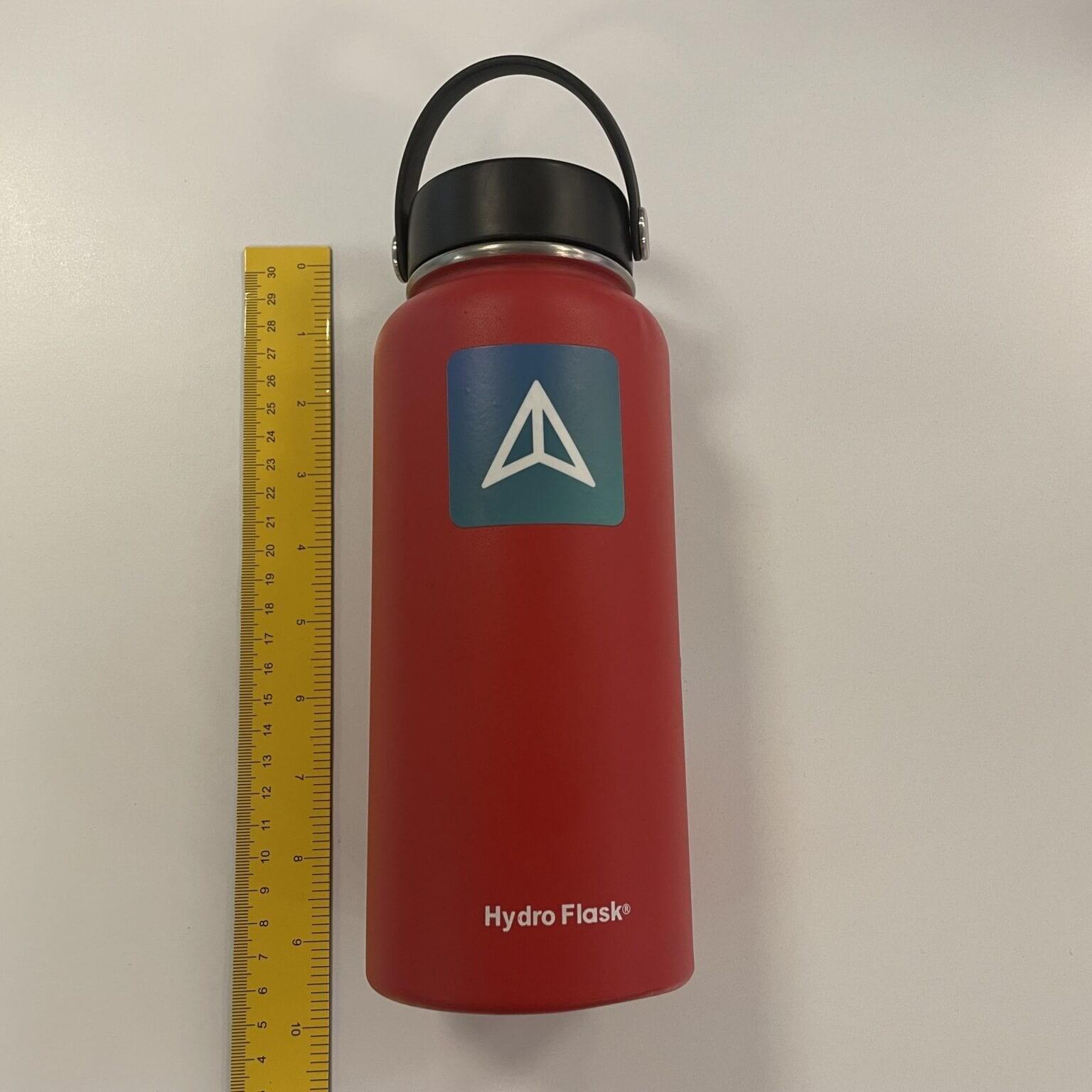 water bottle being measured