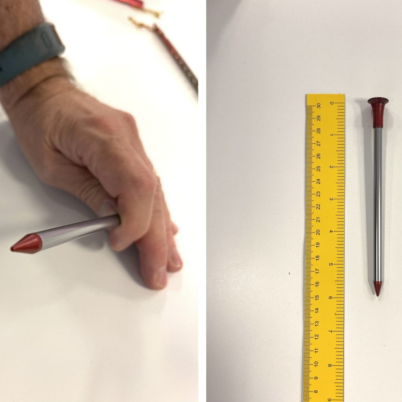 tent stake being measured next to a ruler