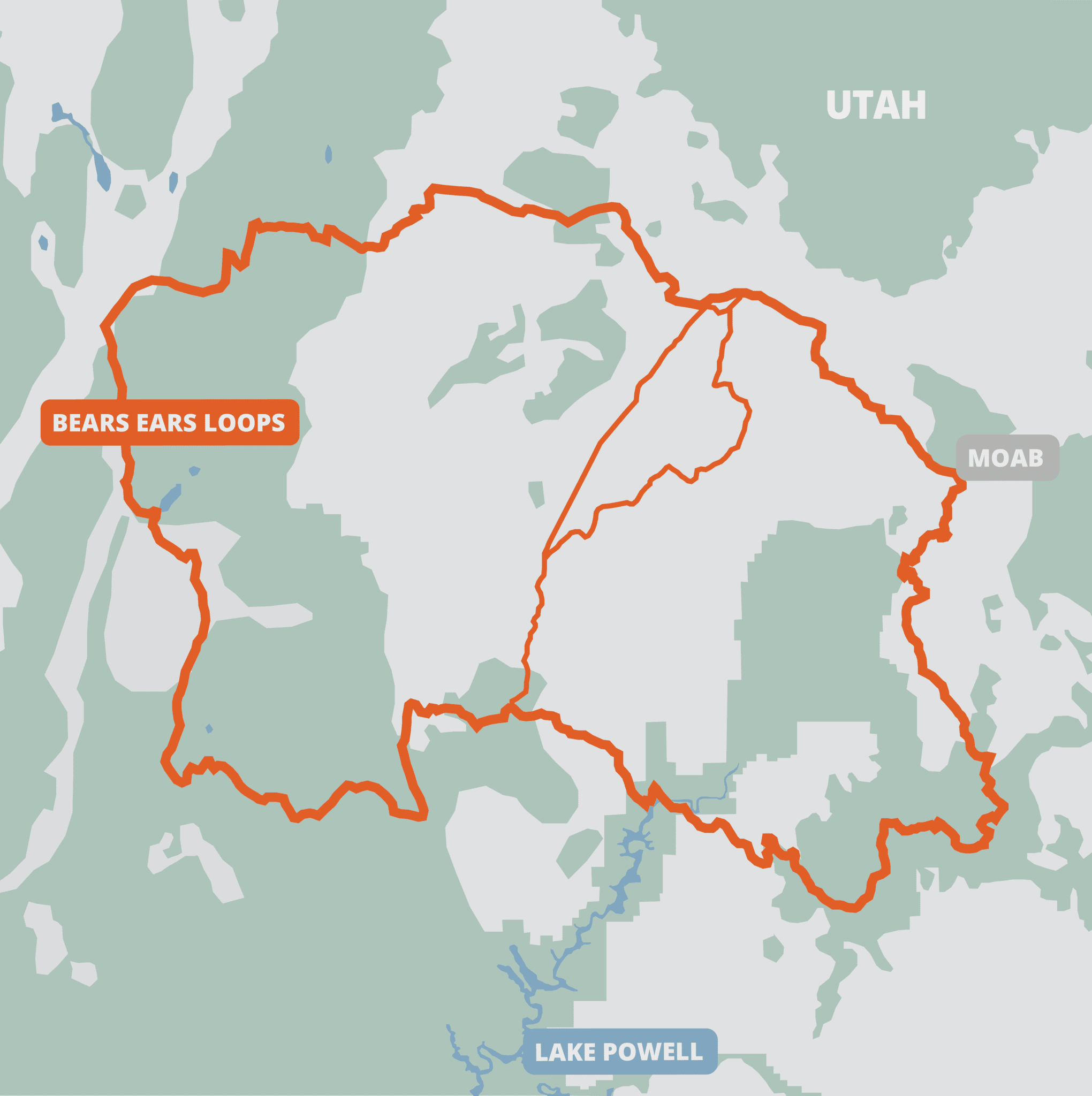 Illustrated map of the bears ears loops
