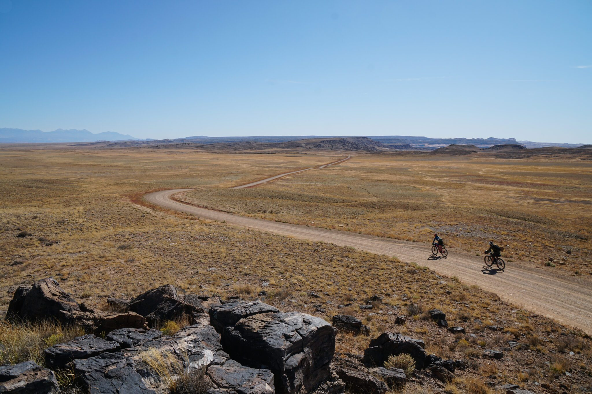 two bikepackers riding on the Bears Ears L