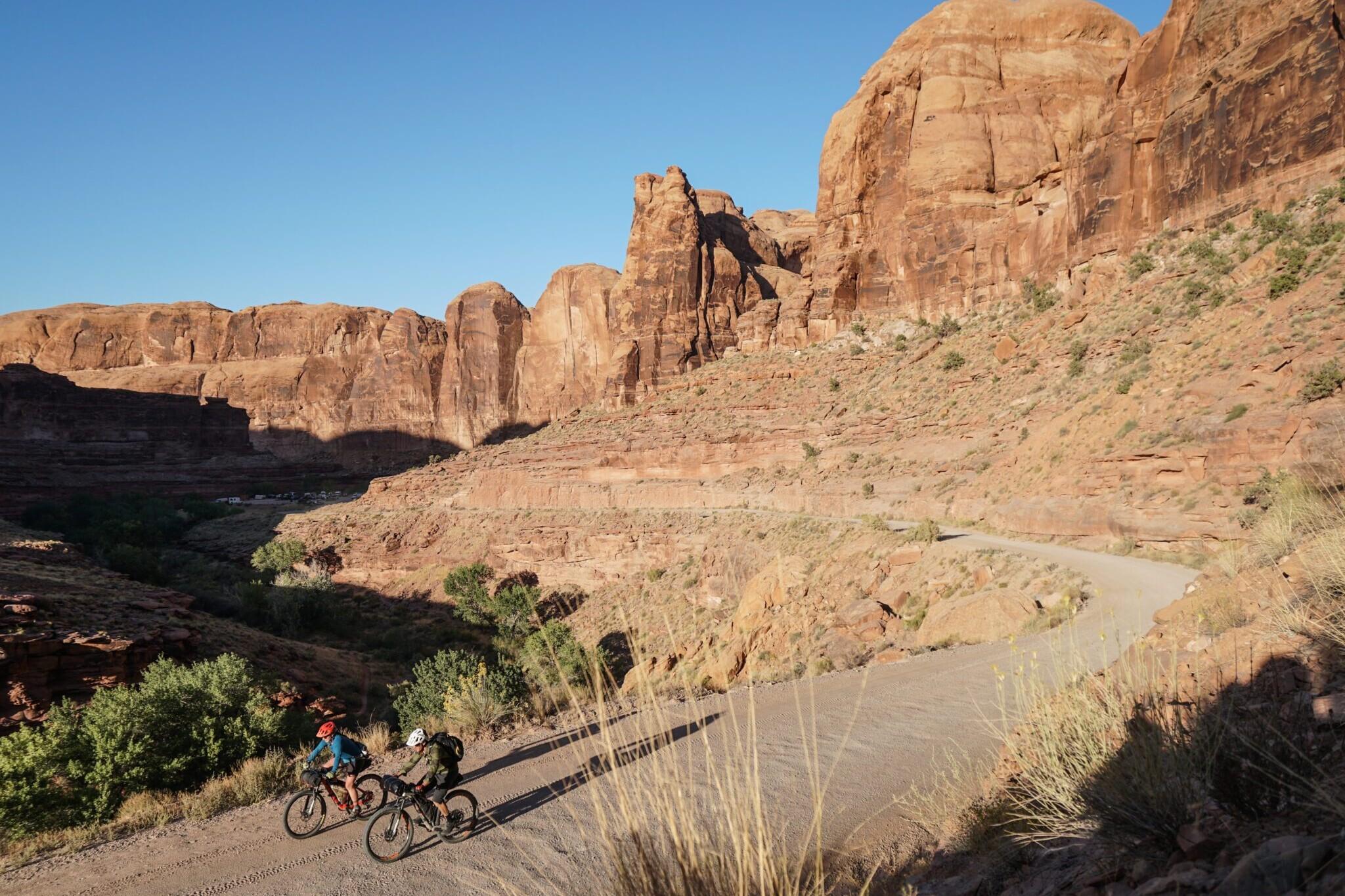 two bikepackers riding on the Bears Ears Loops