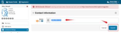 Screenshot of the Contact Information update screen on the ATLAS Parent Portal