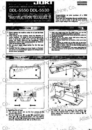 Juki DDL 5550 User's Manual