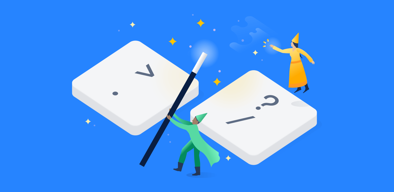 An illustration to represent the power of Jira shortcuts showing two wizards and a magic wand.