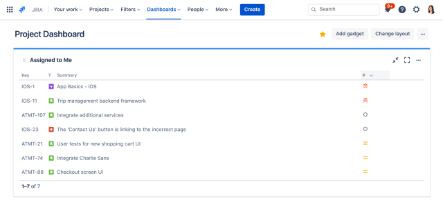 project dashboard jira screenshot