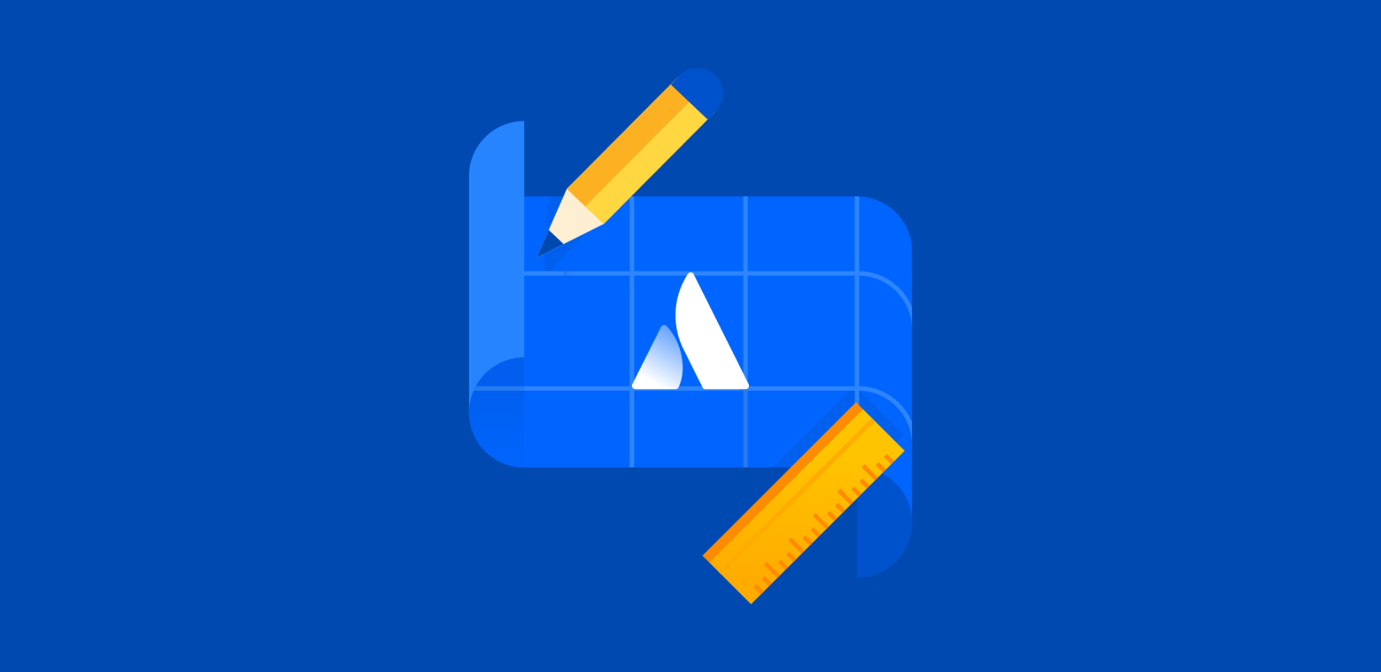 illustration of a blueprint with the Atlassian logo, surrounded by a pencil and ruler