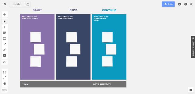 """Sprint retrospective idea #1: template for """"Start, Stop, Continue"""""""