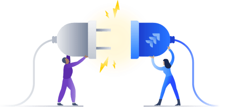 Illustration of two people powering up