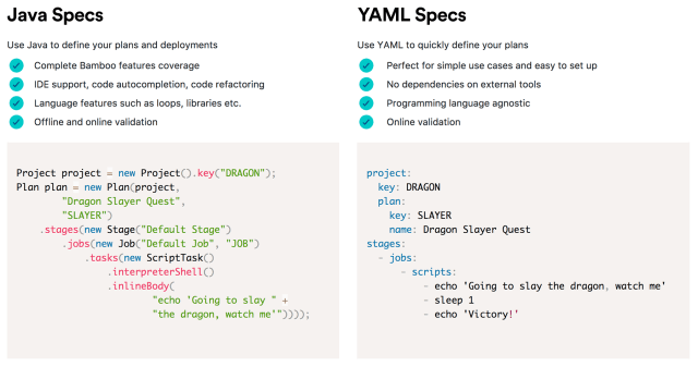 Bamboo build plan spec comparison for Java and YAML