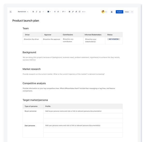 Product launch plan template in Confluence