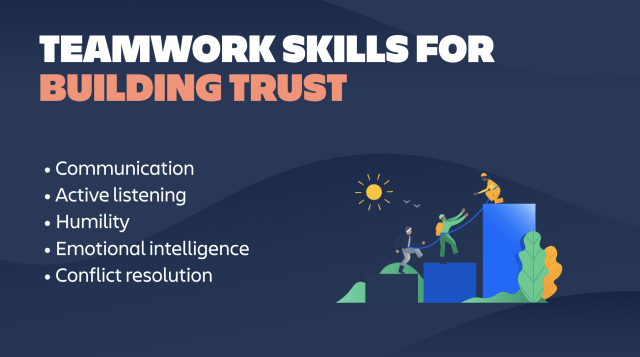 An illustration about Teamwork skills that help you build trust