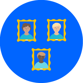Three illustrations of faces in picture frames