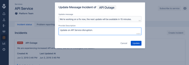 click to send an incident update message