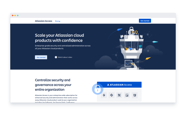 A webpage example of Atlassian Access with robust security features
