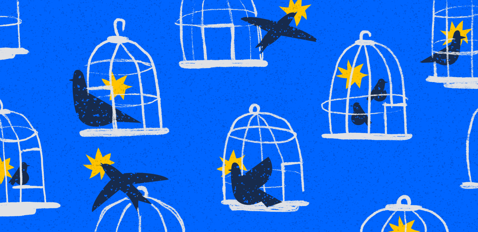 illustration of birds coming out of their cages