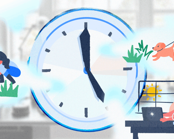 Illustration with a clock and a person who works from home performing various work and personal tasks.