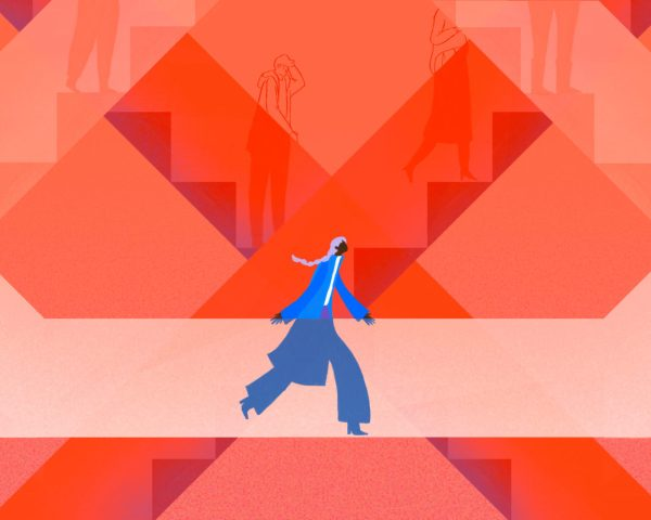Woman walking from one set of stairs to another