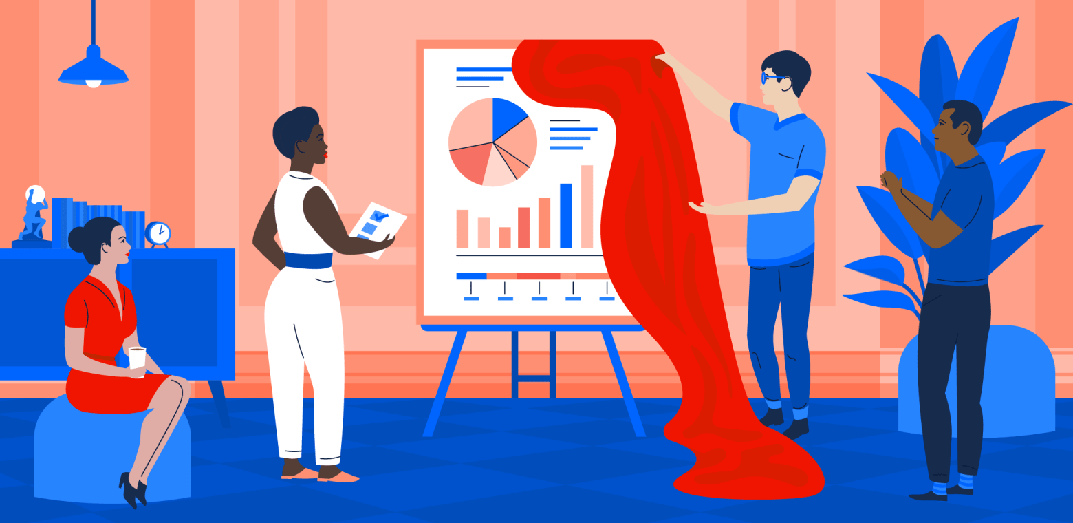 Illustration of a person unveiling a poster filled with charts and graphs