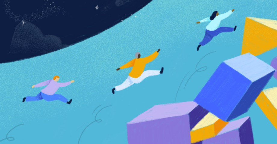 Illustration of people leaping over abstract shapes
