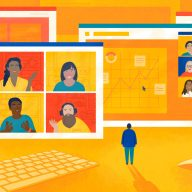 Illustration of a person standing in front of giant screens filled with video calls and other work-related objects