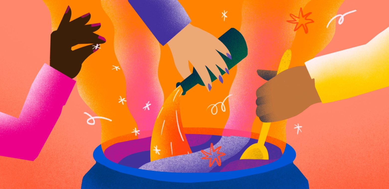 Hands pouring ingredients into a cauldron, illustrating mixing ingredients of high-performing teams