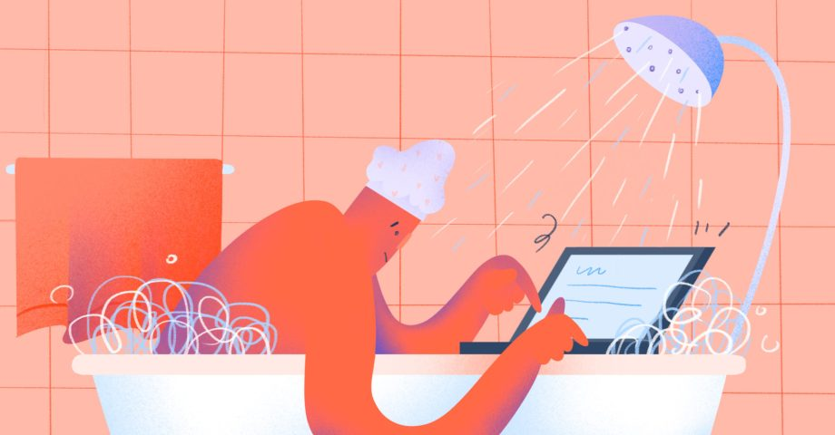 Illustration of a man trying to work on his laptop while sitting in the bath