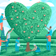 A team cultivating a tree, in the shape of a heart.