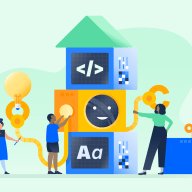 2 kids and 1 adult connecting building blocks to depict coding games