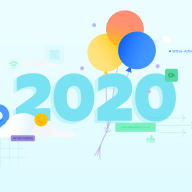 2020, flanked by balloons and confetti
