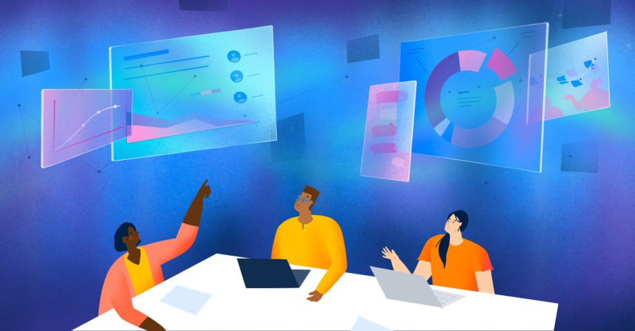 Illustration of people sitting around a conference table looking at each others' work