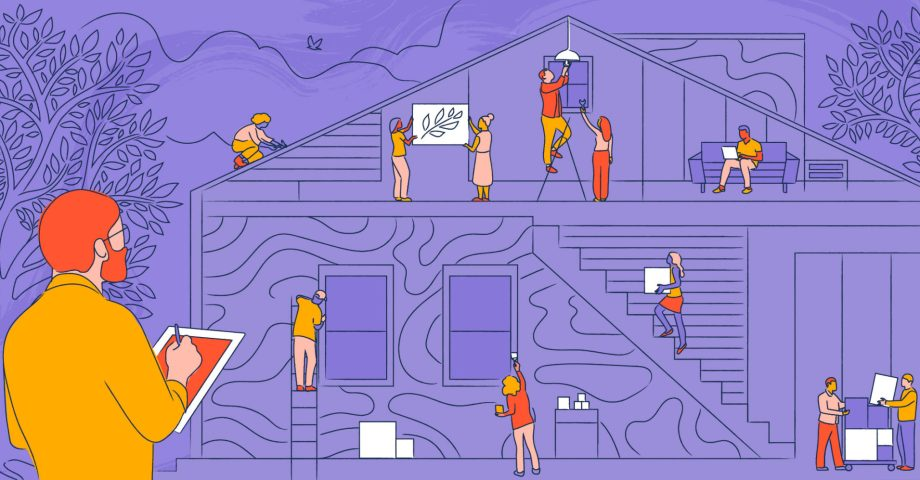 Illustration of a people building a house together