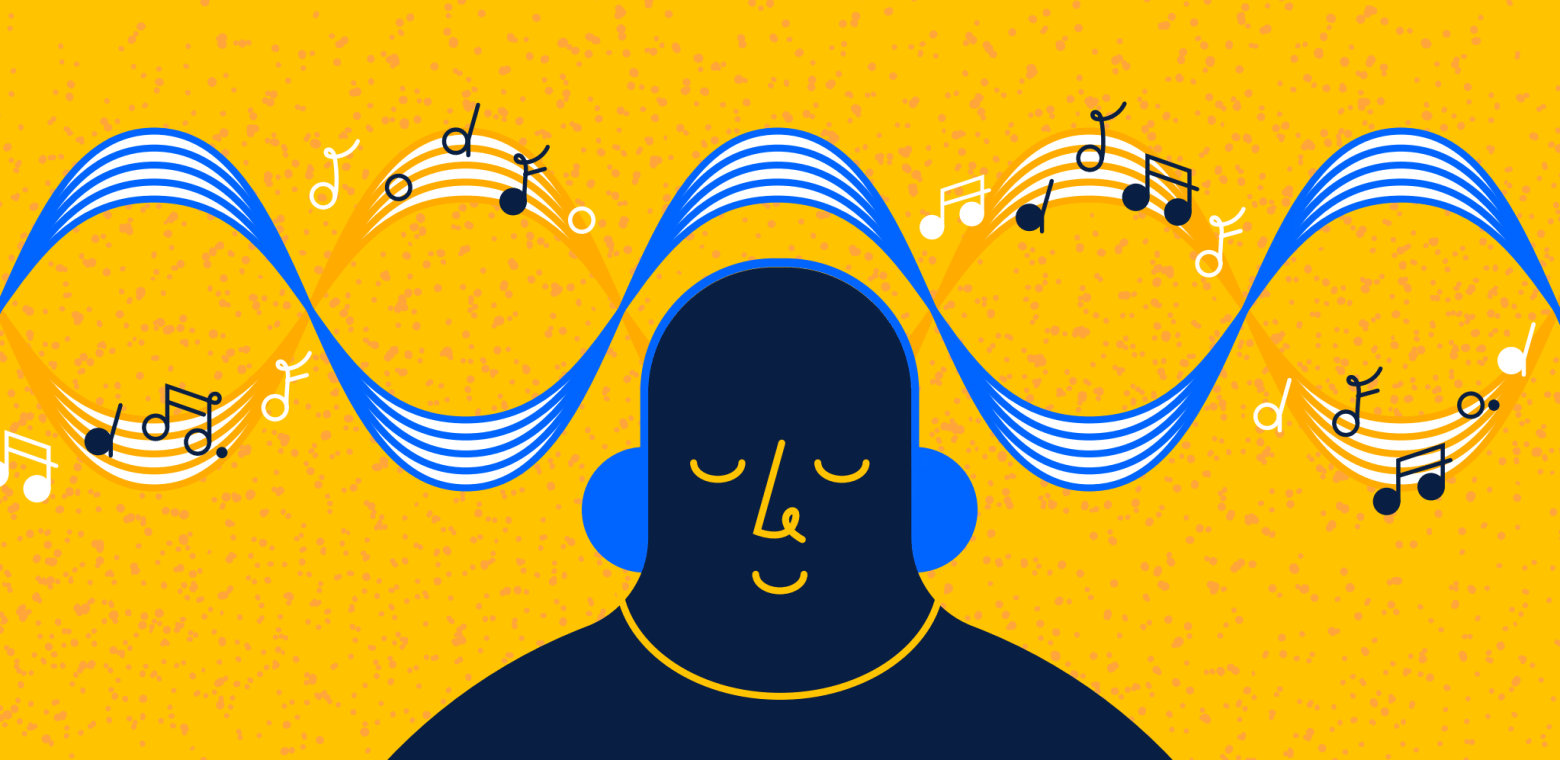A person wearing headphones while sitting under a music score, illustrating a flow state of mind