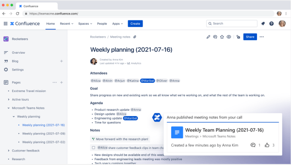 Screenshot of confluence weekly planning (2021-07-16)
