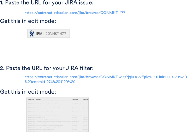 Jira issues Confluence