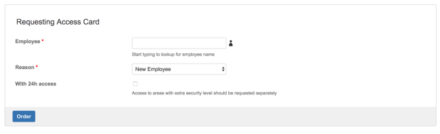 HR form access badge request