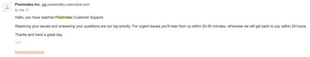 Postmates customer service email