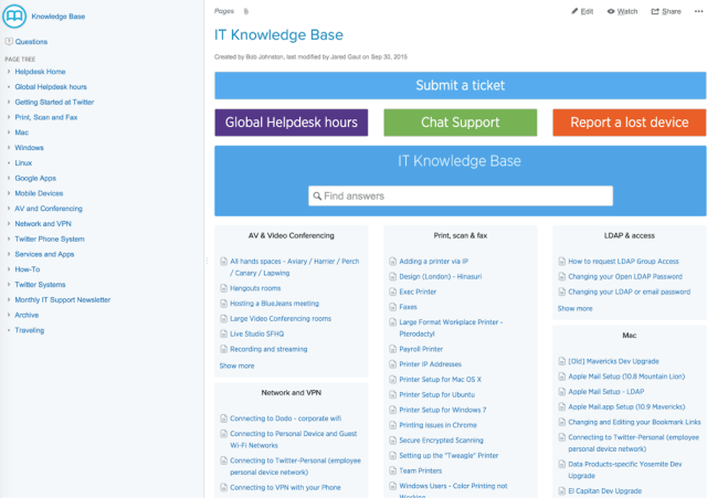 Knowledge base tip: give people a jumping off point for documentation in Confluence.