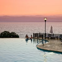 Sunset at Infinity Pool Movenpick Dead Sea