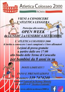 OPEN WEEK 02-06 Settembre – Vieni a conoscerci allo stadio delle Terme