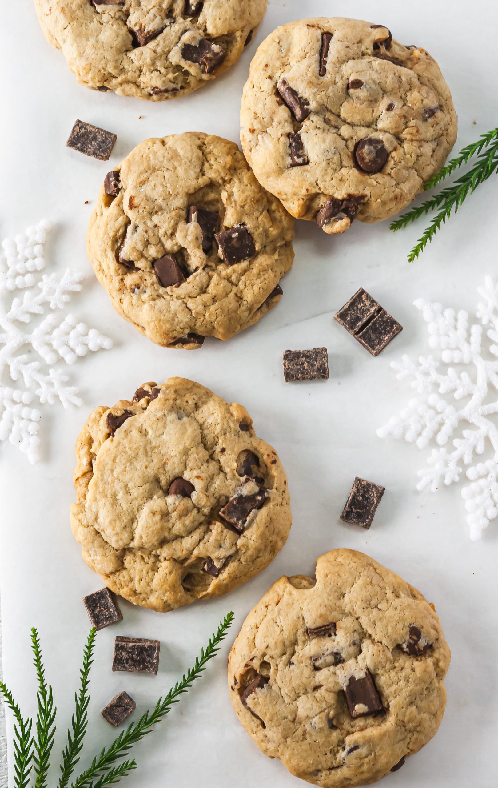 Food photo of chocolate chip cookies with snowflakes