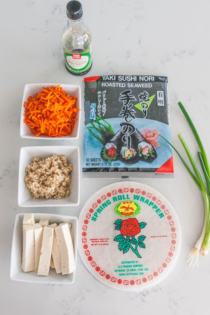 Photo of ingredients to make a spring roll