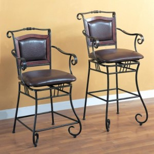 Dining Chairs and Bar Stools 29″ Metal Bar Stool with Upholstered Seat
