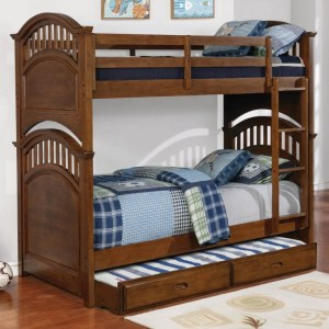 Halsted Casual Walnut Twin-Over-Twin Bunk Bed