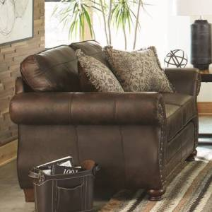 Graceville Upholstered Nailhead Loveseat Dark Brown