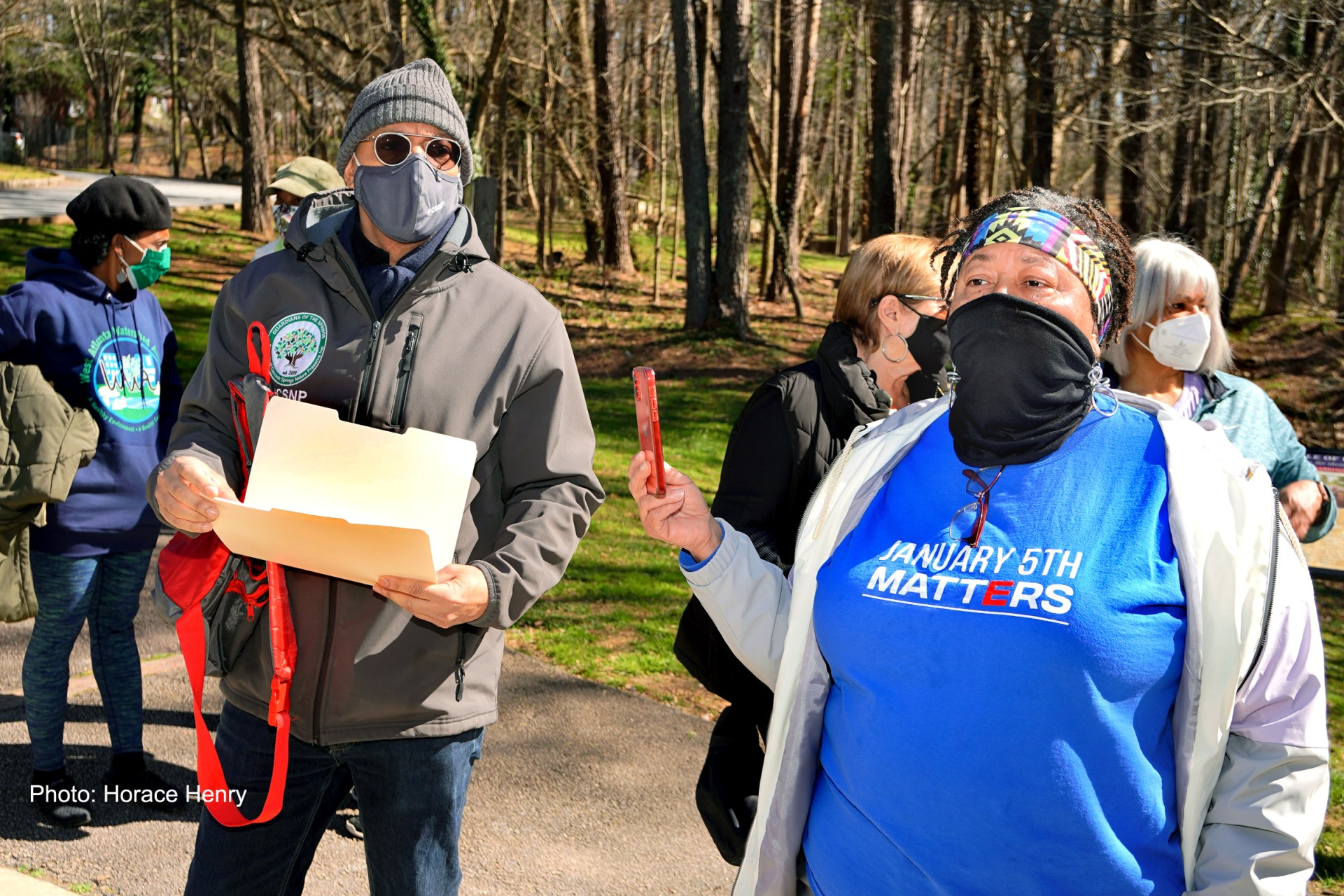 Mr. David Davis, of Friends of Cascade with community activist, Mrs. Cecilia Houston-Torrence, at Cascade Nature Preserve. Cecilia Houston-Torrence is also a member of Atlanta's Nature Gurlz, a group of women who promote voting and voter education and safely gather outdoors to fellowship and walk for fitness at Cascade Nature Preserve. Photo by Horace Henry