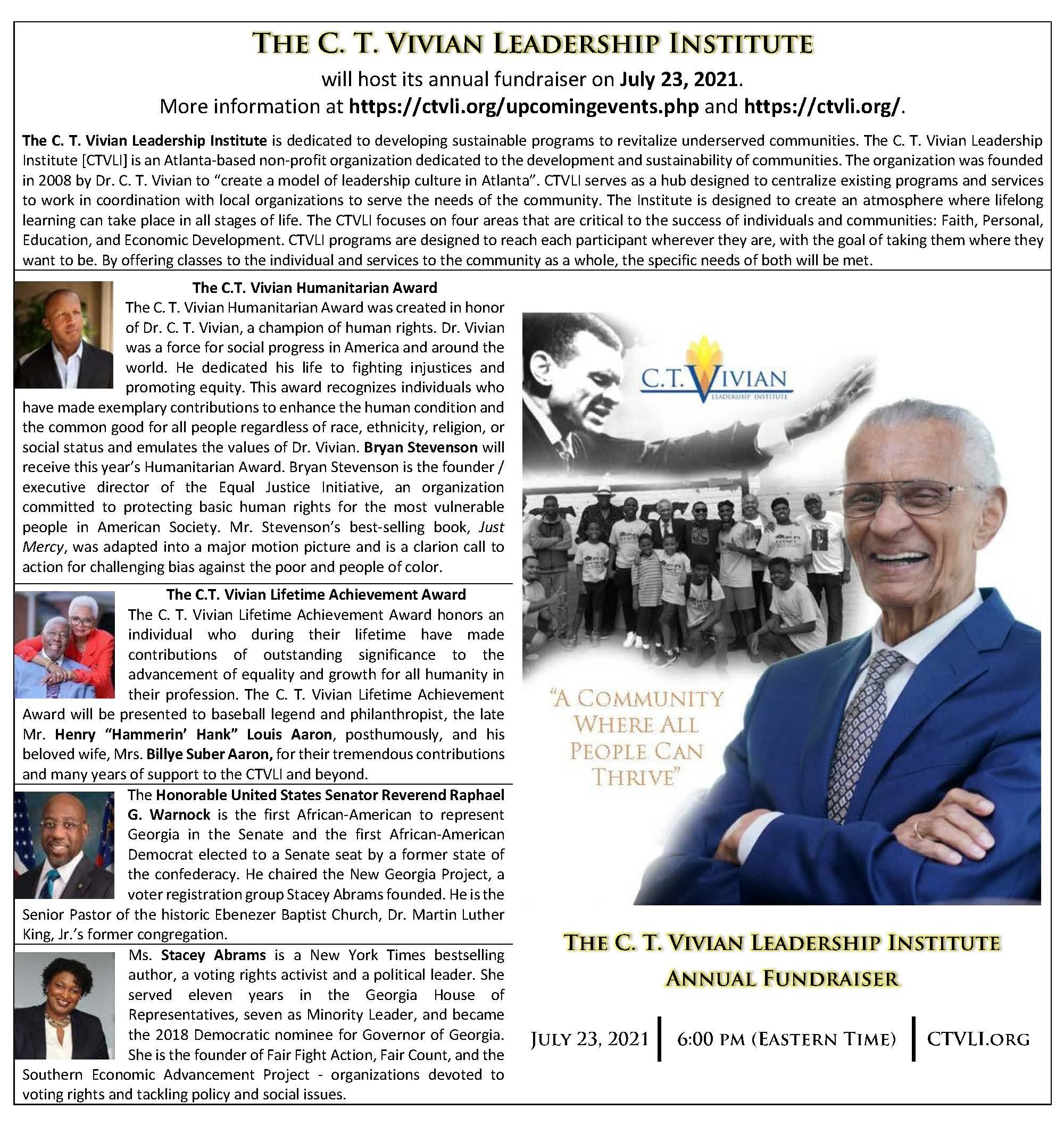 The C. T. Vivian Leadership Institute (CTVLI), 2021-07-23
