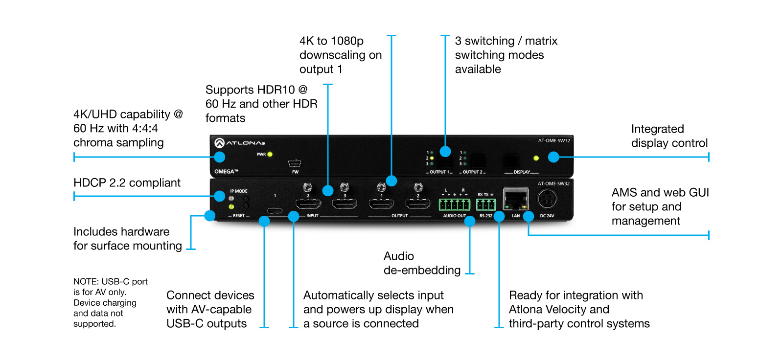 hight resolution of ome sw32 3 2 matrix switcher for hdmi and usb c three way switch diagram for dummies gnewsinfocom