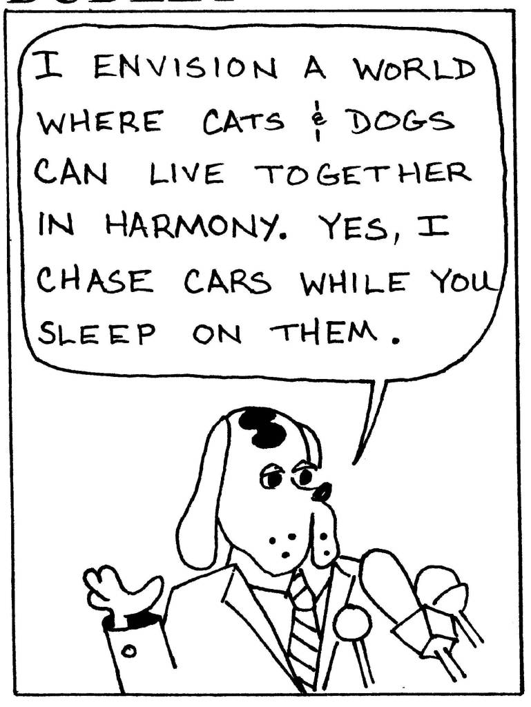 Dog makes political speech to cats.5