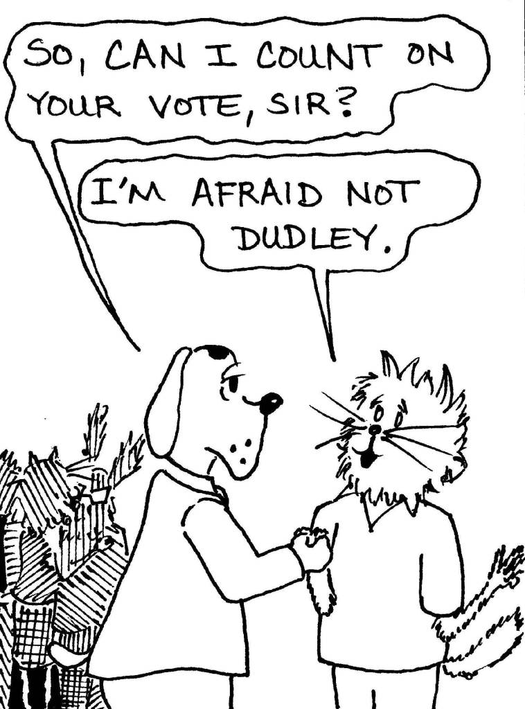 Dog makes political speech to cats.17