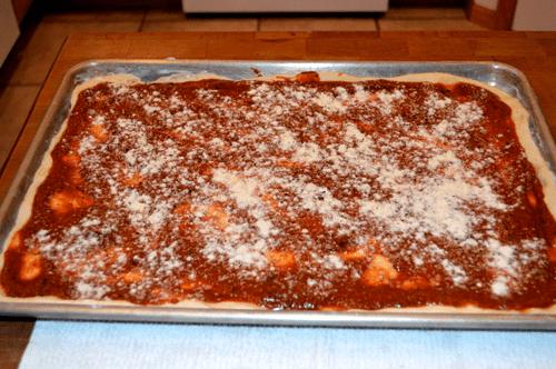 grannie geek, pizza crust with pesto tomato sauce